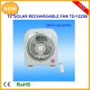 10inch multifunction rechargeable emergency solar charger oscillation fan with 6W solar panel and radio/fan panel