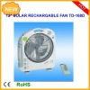 12inch multifunction rechargeable emergency light oscillation fan with 6W solar panel and radio/emergency light and fan