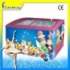 DL 400L Sliding Curved Glass Door freezer /Ice Cream Freezer with CE