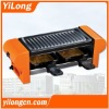 Electric barbecue grill(BC-1002O),orange/non-stick grill plate/2 raclette pans/350W