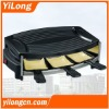 Hot pot grill(BC-1006H3),black/650w/6 raclette pans/nonstick grill plate/CE/GS/Rohs/LFGB approval