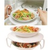 Microwave Dual Plate Holder Tray Multi-Function Food Holder Stacker elevated shelf