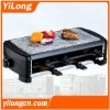 Professional grill(BC-1209S),black/1200w/hot stone plate/6 raclette pans