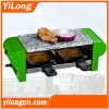 Stone raclette grill(BC-1002SG),green/350w/2 ralcette pans/hot stone plate