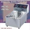 electric chicken pressure fryer Latest design, counter top electric 2 tank fryer(2 basket)