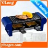 electric raclette grill(BC-1002),2 raclette pans/blue/350W/non-stick grill plate