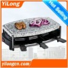 raclette grill with stone(BC-1006H3S),black/6 raclette pans/1200w/hot stone plate