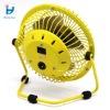 yellow mini USB metal  table fan